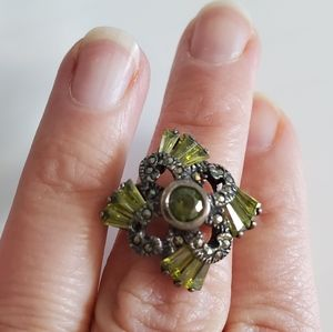 Peridot Marcasite Sterling Silver Ring